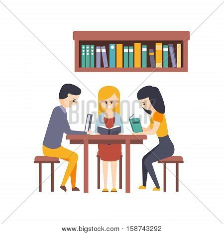 Library Or Bookstore With Students Reading Books And Studying Together At The Desk. Flat Primitive Vector Illustration With Colorful Human Characters In Bookshop Interiors.
