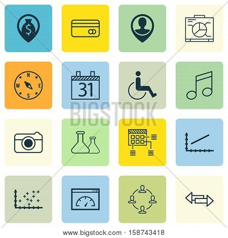 Set Of 16 Universal Editable Icons. Can Be Used For Web, Mobile And App Design. Includes Icons Such As Crotchets, Board, Loading Speed And More.