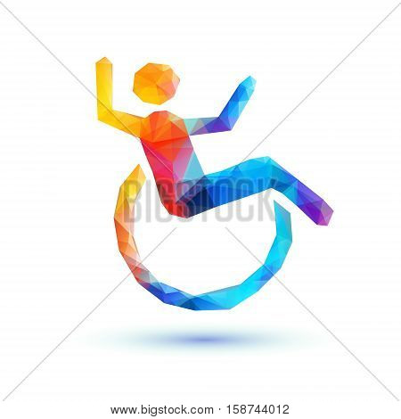 Happy Disabled People. Polygonal Sign