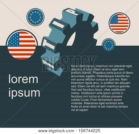 TTIP - Transatlantic Trade and Investment Partnership. Europe and USA association. Modern vector brochure, report or flyer design template. Field for text