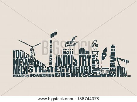 Energy and Power icons set perforated by relative tags. Header or footer banner. Sustainable energy generation and heavy industry. Vector illustration.
