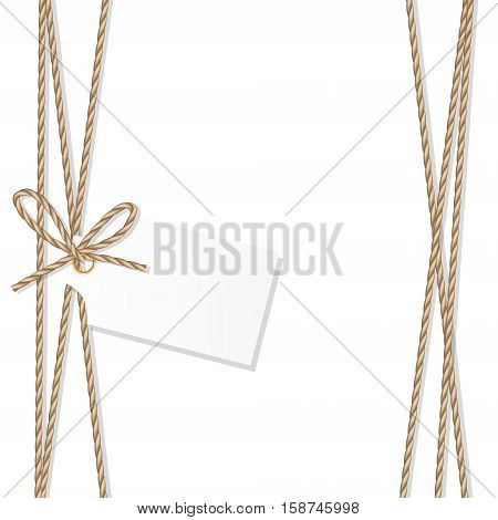 Abstract white background with tag label tied up with rope bow and ribbons