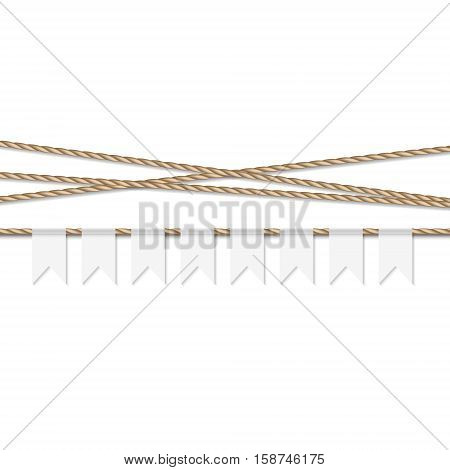 Abstract white background with white bunting banner and rope ribbons