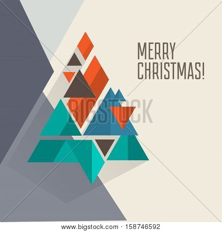 Geomeric poygonal modern flat retro vintage minimalistic vector christmas card design for art projects with geometric christmas tree for flyer, book cover, greeting cards, backdrops, wallpapers