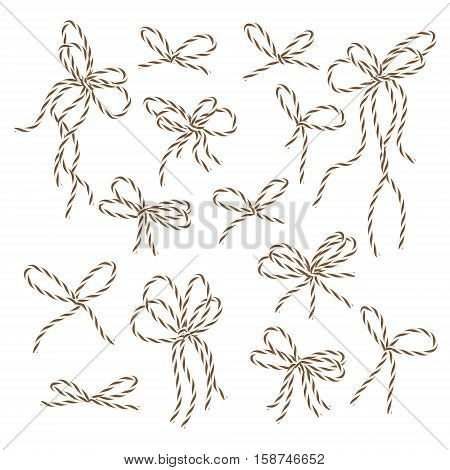 Collection of brown bakers twine bows on white background