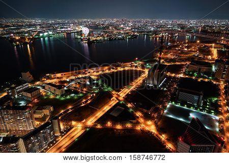 Nightview of Osaka Bay in Osaka, Japan.