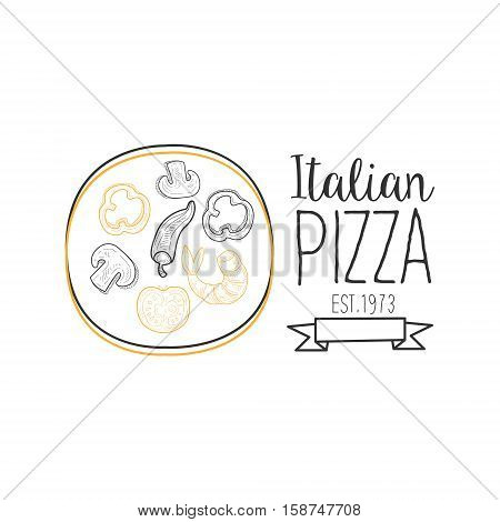 Full Pizza Abd Ribbon Premium Quality Italian Pizza Fast Food Street Cafe Menu Promotion Sign In Simple Hand Drawn Design Vector Illustration. Good Products Trendy Junk Food Advertisement Template For Hipster Restaurant.