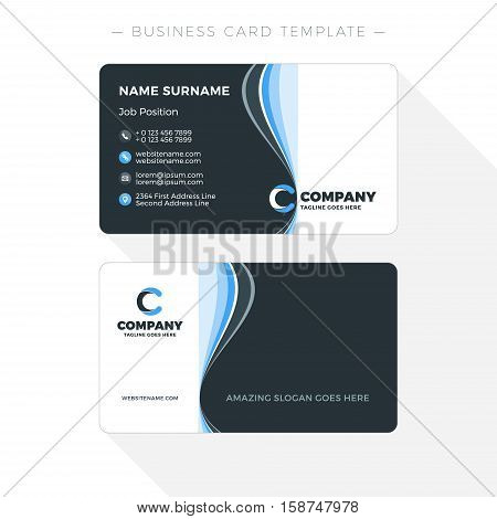 Double-sided Business Card Template With Abstract Blue And Black Waves Background. Vector Illustrati