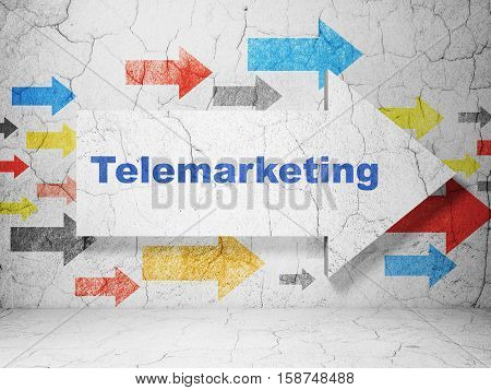 Marketing concept:  arrow with Telemarketing on grunge textured concrete wall background, 3D rendering
