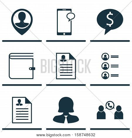 Set Of Management Icons On Wallet, Employee Location And Business Deal Topics. Editable Vector Illustration. Includes Mobile, Pin, Wallet And More Vector Icons.