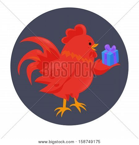 Cartoon chinese zodiac fire rooster. Vector illustration for holiday design. 2017 New year symbol. Red color. China lunar decoration. Oriental sign. Traditional cock. Crowing chicken bird.