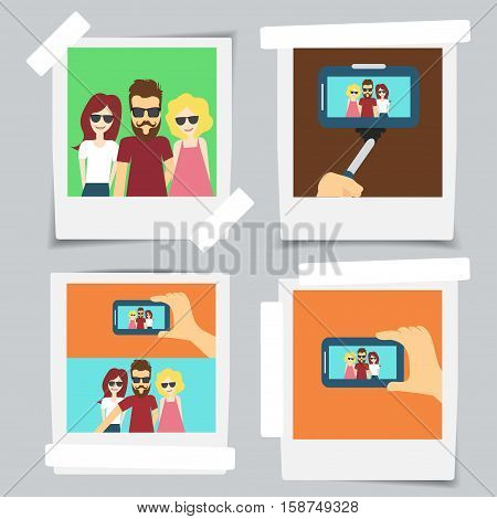Template photo frame with adhesive tape selfy set Design photography - vector set