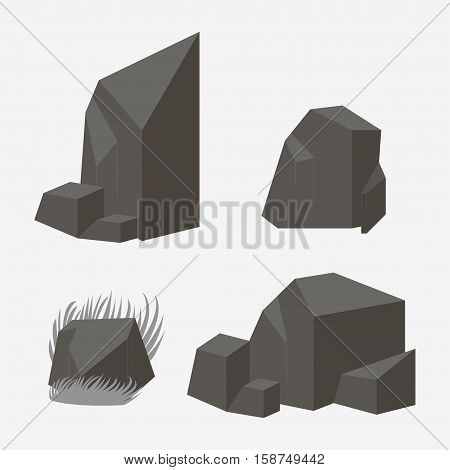 Rock stone vector icon.  Set of Rocks and different stone boulders
