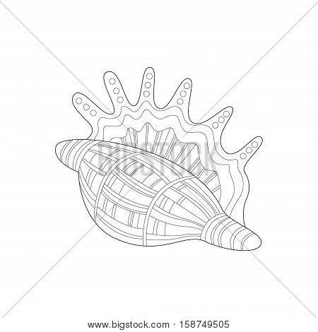 Lambis Snail Shell Sea Underwater Nature Adult Black And White Zentangle Coloring Book Illustration. Doodle Monochrome Vector Drawing With Geometric Mosaic Patterns For Coloring.