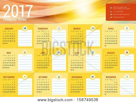 Calendar For 2017 Year. School Schedule. Vector Design Stationery Template. Week Starts Sunday. Vect