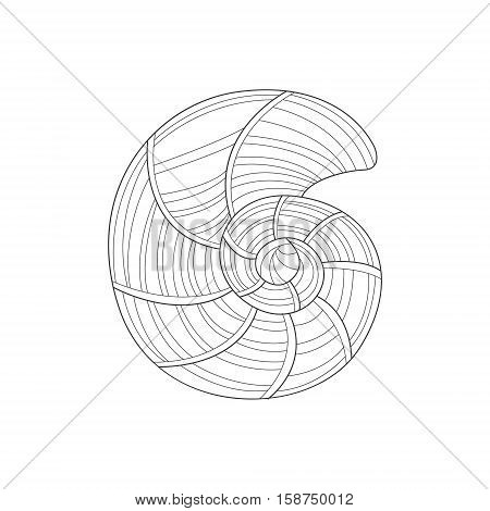 Nautilus Mollusk Shell Sea Underwater Nature Adult Black And White Zentangle Coloring Book Illustration. Doodle Monochrome Vector Drawing With Geometric Mosaic Patterns For Coloring.