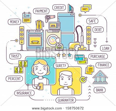 Vector Illustration Of Talking Man And Woman By Phone About Taking A Consumer Loan For Household App
