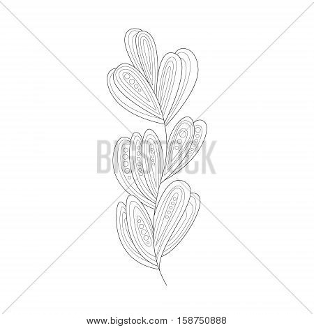 Seagrass Sea Underwater Nature Adult Black And White Zentangle Coloring Book Illustration. Doodle Monochrome Vector Drawing With Geometric Mosaic Patterns For Coloring.