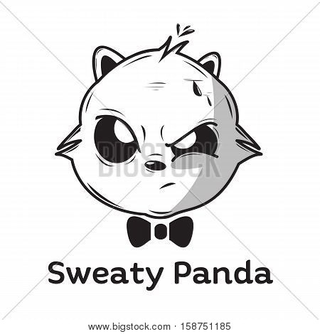 sweaty panda logo mascot with hairy adn big eyes look, black white bw vector