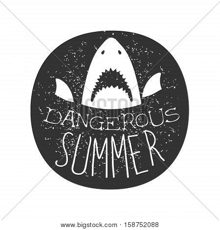 Great White Shark With Open Mouth Summer Surf Club Black And White Stamp With Dangerous Animal Silhouette Template. Monochrome Vector Surfing Beach Sport Sign Design With Text And Date.