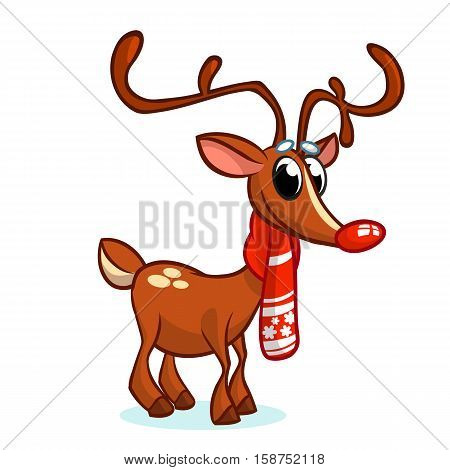Christmas red nose reindeer in santa hat vector illustration on snowy background