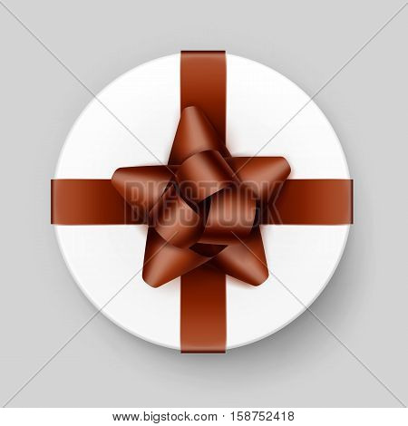 Vector White Round Gift Box with Shiny Brown Bow and Ribbon Top View Close up Isolated on Background