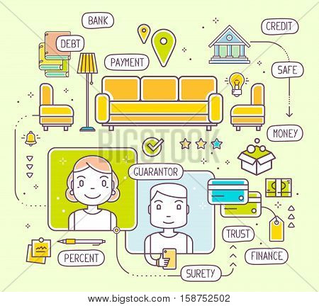 Vector Illustration Of Talking Man And Woman By Phone About Buying A New Upholstered Furniture For H