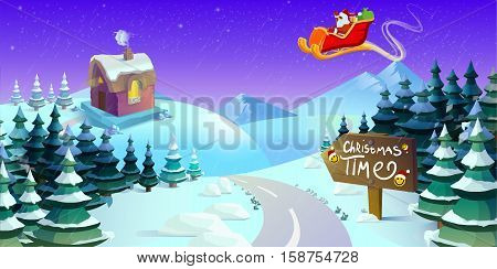 Santa Claus sleigh fly over the forest house snowman and throws gifts . Christmas card invitation background design template. vector illustration