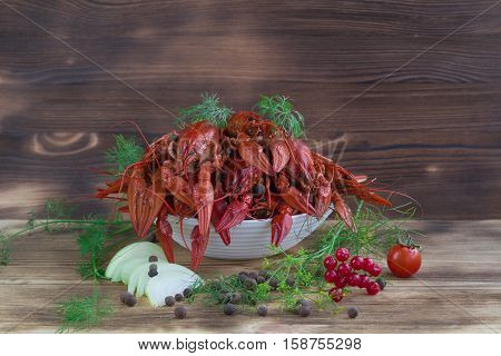 Red Crayfishes, Fennel, Onions, Peppers, Tomato On Wooden Background