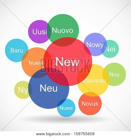 Creative abstract color vector illustration of the set of New texts in different languages in colorful circles on white background