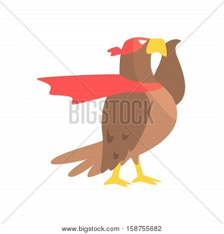 Eagle Animal Dressed As Superhero With A Cape Comic Masked Vigilante Geometric Character. Part Of Fauna With Super Powers Flat Cartoon Vector Collection Of Illustrations.