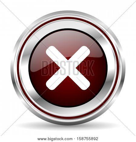 cancel icon chrome border round web button silver metallic pushbutton
