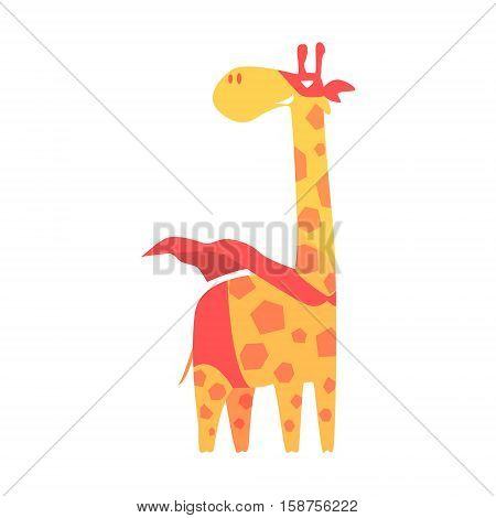 Giraffe Animal Dressed As Superhero With A Cape Comic Masked Vigilante Geometric Character. Part Of Fauna With Super Powers Flat Cartoon Vector Collection Of Illustrations.