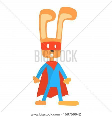 Rabbit Smiling Animal Dressed As Superhero With A Cape Comic Masked Vigilante Geometric Character. Part Of Fauna With Super Powers Flat Cartoon Vector Collection Of Illustrations.