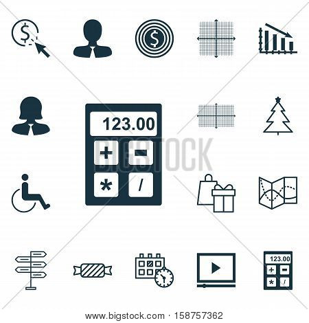 Set Of 16 Universal Editable Icons. Can Be Used For Web, Mobile And App Design. Includes Icons Such As Sweet, Fail Graph, Shopping And More.
