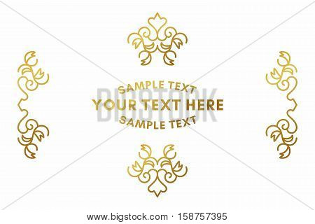 Golden Luxurious Logo Frame. Golden On White Background. Vector Illustration. Decorative Elements Fo