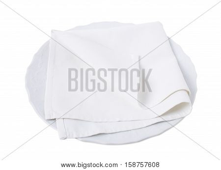 Kitchen towel on porcelain plate. Isolated on a white background.