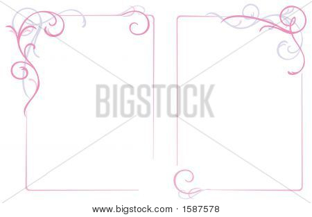 Abstract Floral Ornaments Frame, Pink, Illustration