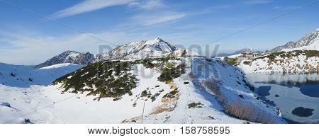 Panorama of Murodo Station at Tateyama Kurobe Alpine Route of Nagano Japan also known at sa Japanese Alps