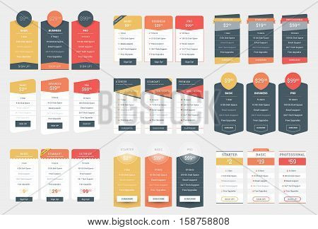 Collection Of Coloful Pricing Table Design Templates For Websites And Applications. Vector Pricing P