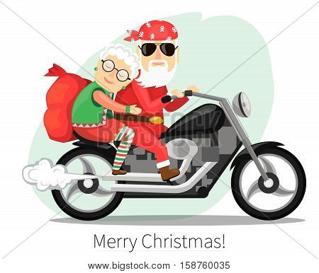 Santa Claus and Mrs. Claus riding on a steep motorcycle. Vector illustration in a flat style.