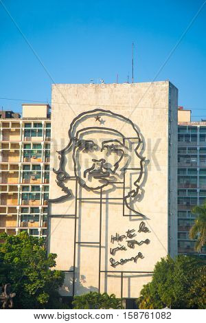 HAVANA, CUBA - FEB 6, 2011: Popular government building with Che Guevara image in front of Revolution square.