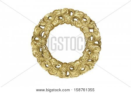 Gold round picture frame isolated on white with clipping path.
