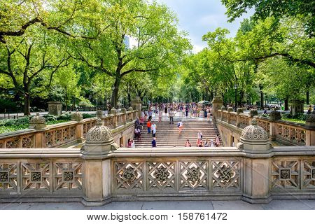 NEW YORK,USA - AUGUST 19,2016 : View of the Central Park Mall from Bethesda Terrace in New York City