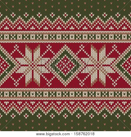 Winter Holiday Fair Isle Knitted Pattern. Vector Seamless Knitting Wool Texture. Knitted Sweater Design