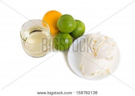 Ingredients for baking cake. Isolated on a white background.