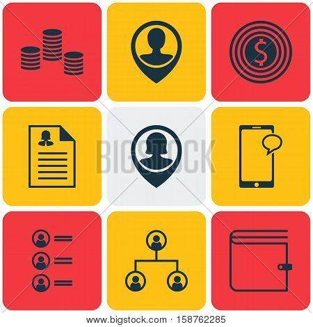 Set Of Management Icons On Messaging, Wallet And Job Applicants Topics. Editable Vector Illustration. Includes Female, Phone, Wallet And More Vector Icons.