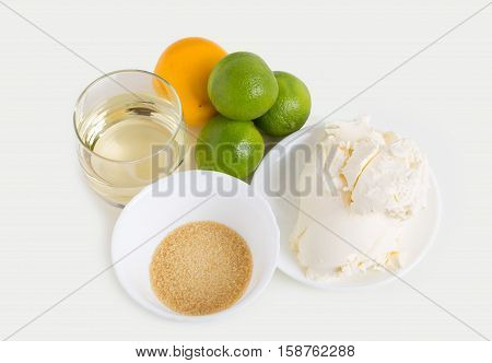 Ingredients for baking cake. Located on a white background.