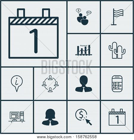 Set Of 12 Universal Editable Icons. Can Be Used For Web, Mobile And App Design. Includes Icons Such As Computer, Cacti, PPC And More.