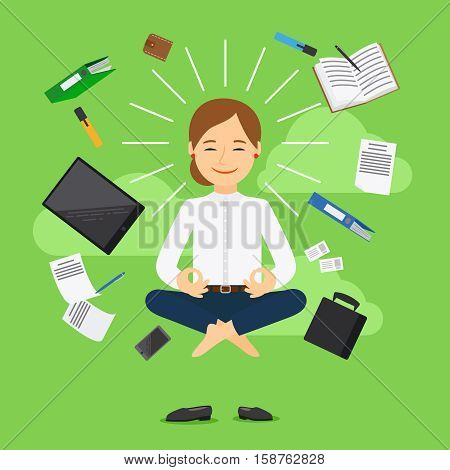 Businesswoman in meditating position on green background. Vector illustration